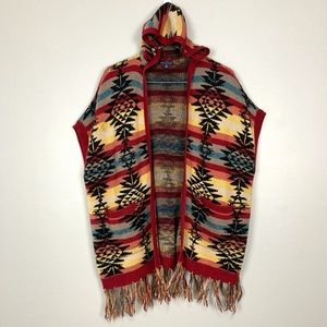 American Eagle Open Front Poncho Hooded Southwest